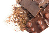 Chocolate pieces with nuts macro — 图库照片