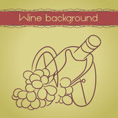Wine background with bottle and grapes — Stock Vector