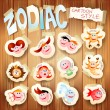 Zodiac on wood - Stock Vector