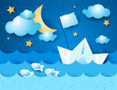 Paper boat, nocturnal — Stock Vector