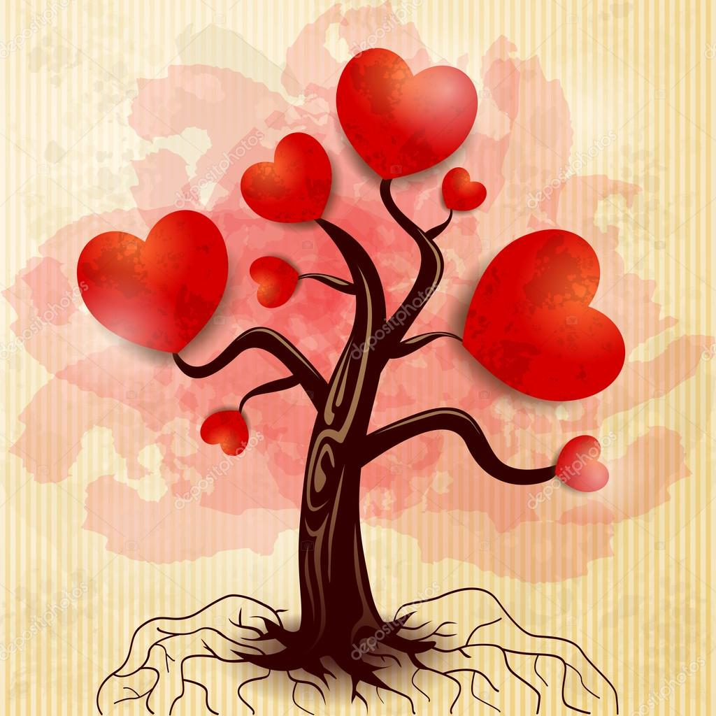 Tree of hearts, fantasy illustration. Vector — Stock Vector #19667993