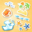 Stock Vector: Holidays on beach, vector icons