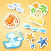 Holidays on the beach, vector icons — Stock Vector