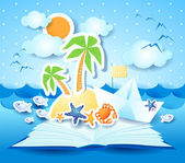 Holidays on the beach, the book — Stock Vector
