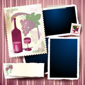 Wine and grapes, vintage background — Stock Vector