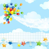 Balloons background with banner — Stock Vector