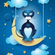Cat and moon — Stock Vector
