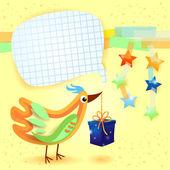 Oiseau et cadeau, arrière-plan personnalisé — Vecteur