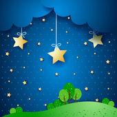 Night, fantasy illustration — Stock Vector