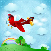 Red airplane — Stock Vector