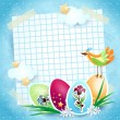 Easter background with sheet, bird and Easter eggs — Stock Vector