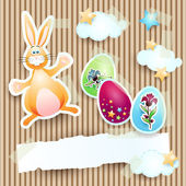 Easter background with bunny, eggs and banner — Stock Vector