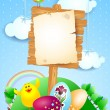 Easter signbord with eggs and funny chick — Stock Vector #42840301