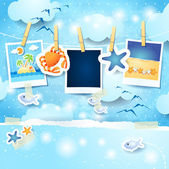 Holidays background with photo frames and copy space — Stock Vector