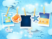 Holidays background with photo frames — Stock Vector
