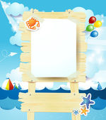 Signboard on summer seascape — Stock Vector