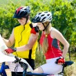 Bikers holding a map in vineyard, Czech Republic — Stock Photo #11283797