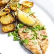 Grilled mackerel with roasted potatoes — Stock Photo #13586587