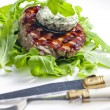 Grilled beefsteak with herbal butter — Stock Photo #13586600