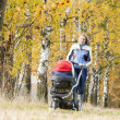Woman with a pram on walk in autumnal nature - Стоковая фотография