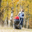 Stock Photo: Womwith pram on walk in autumnal nature