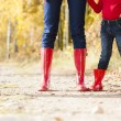 Detail of mother and daughter wearing rubber boots — Stock Photo #13587055