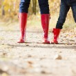 Detail of mother and daughter wearing rubber boots — Stock Photo #13587057