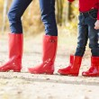 Detail of mother and daughter wearing rubber boots — Stock Photo #13587061
