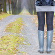 Detail of woman wearing rubber boots — Lizenzfreies Foto