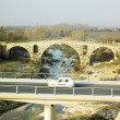 Pont Julien with the new road bridge - Stockfoto