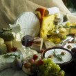 Stock Photo: Cheese still life with fruit