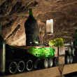 Still life in wine cellar, Bily sklep rodiny Adamkovy, Chvalovice, Czech Republic — Stockfoto