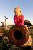 Sitting little girl — Stock Photo
