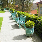 Blue park bench, Prague, Czech republic, Europe — Stock Photo