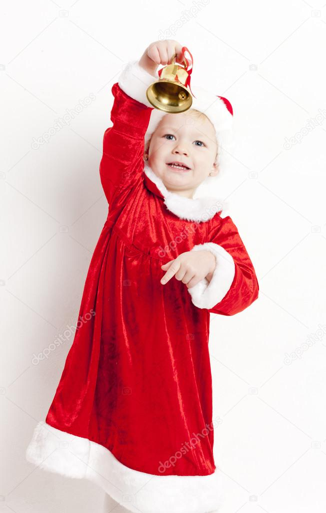 Little girl as Santa Claus with Christmas presents — Stock Photo #13585573