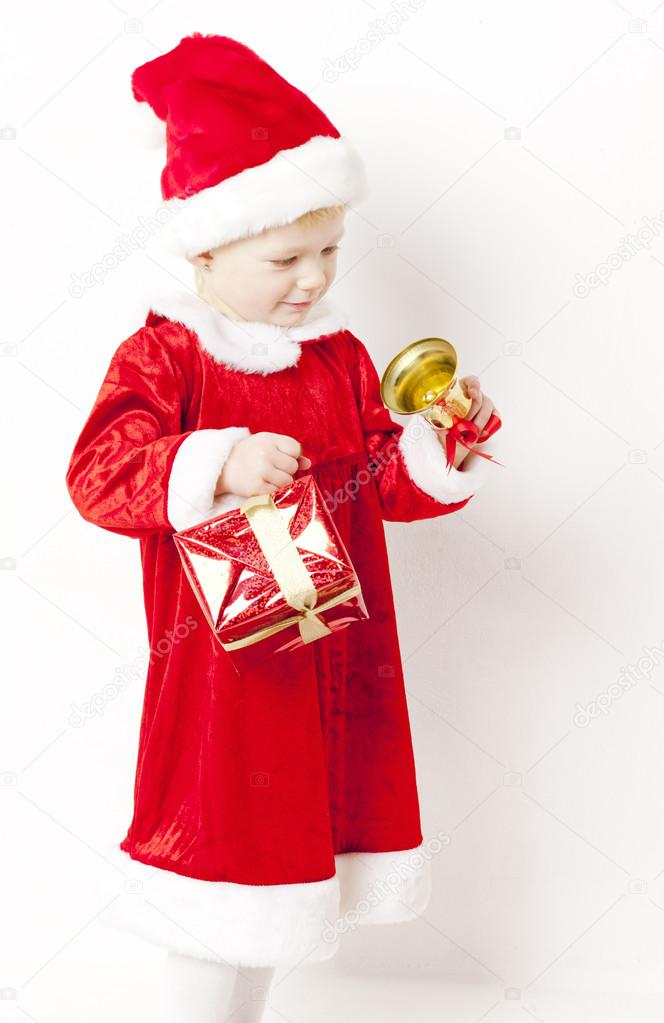 Little girl as Santa Claus with Christmas presents  Stock Photo #13585577