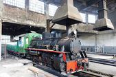 Steam locomotive in depot, Kostolac, Serbia — Stockfoto