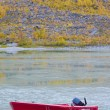 River and a boat scene during Fall season — Stock Photo