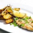 Stock Photo: Grilled mackerel with roasted potatoes
