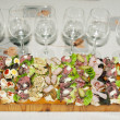 Stock Photo: Sandwiches with wineglasses