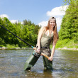 Woman fishing in river, Czech Republic — Stock Photo