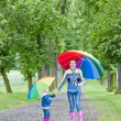 Stock Photo: Mother and her daughter with umbrellas in spring alley