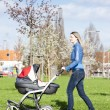 Woman with a pram on spring walk — Stock Photo #18517037