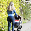 Womwith pram on spring walk — Stock Photo #18517045