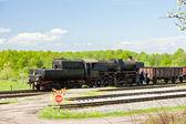 Steam freight train in Tuzla region, Bosnia and Hercegovina — Stock Photo