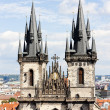 Tynsky church at Old Town Square, Prague, Czech Republic - Stok fotoğraf