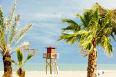 Lifeguard cabin on the beach in Narbonne Plage, Languedoc-Roussi — Stock Photo