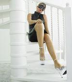 Woman in latex — Stock Photo
