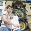 Couple in Prague, Horloge, Old Town Hall, Czech Republic — Stock Photo #20115919