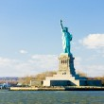 Liberty Island and Statue of Liberty, New York, USA — Stock Photo